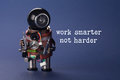 Work smarter not harder concept. Abstract electronic worker with screwdrivers in arms. Macro view shallow depth of field