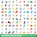 100 work space icons set, isometric 3d style