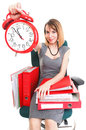 Work stoppage Overworked businesswoman plenty of documents Stock Images