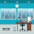 Work time desk space clock chair window basket Royalty Free Stock Photo