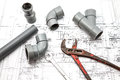 Work tool with plan on a of a house there is tools and equipment Royalty Free Stock Image