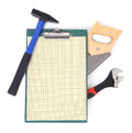 Work tools and clipboard Stock Photo