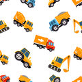Work Trucks Seamless Pattern. Vector Illustration