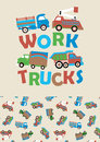 Work trucks vector illustrations of with a matching repeat pattern Royalty Free Stock Photos