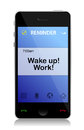 Work, Wake up cell message Royalty Free Stock Photography