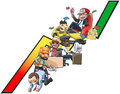 Work and wealth graph of cartoon people from poor labor to rich