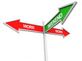Work weekend and week concept a two way signboard and one way pointer Stock Image
