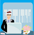 Workaholic sick in the office illustration Royalty Free Stock Image