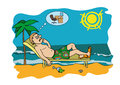 Workaholic on vacation worrying about work man resting the beach thinking workplace vector graphic Royalty Free Stock Image