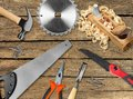 Workbench closeup table gouge carpentry craft birds Royalty Free Stock Image