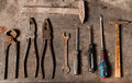 Workbench with rusty tools retro Stock Image