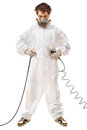 Worker with airbrush gun isolated on white background Royalty Free Stock Images