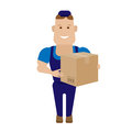 Worker with box illustration of a on a white background Stock Photography