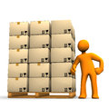 Worker with boxes on pallets Royalty Free Stock Images