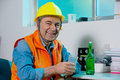 Worker on a break have rest drink and Stock Image