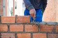 Worker building masonry house wal Royalty Free Stock Photo