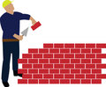 Worker building wall Royalty Free Stock Image