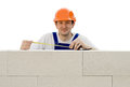 Worker builds a wall Royalty Free Stock Photo