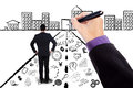 Worker with business doodles and success door Royalty Free Stock Photo