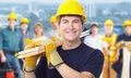 Worker carpenter smiling construction man architecture background Stock Photo