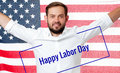 Worker celebration on labor day. American flag