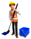 Worker with cleaning mop and bucket d rendered illustration of Royalty Free Stock Photography