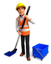 Worker with cleaning mops d rendered illustration of Royalty Free Stock Photo