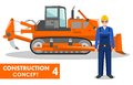 Worker concept. Detailed illustration of workman and dozer in flat style on white background. Heavy construction machine