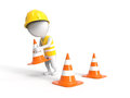 Worker with construction cones d white littke in helmet Royalty Free Stock Images