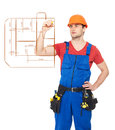 Worker drawing the scetch of plan with marker Royalty Free Stock Photography