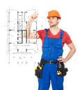 Worker drawing the scheme of a new house young Royalty Free Stock Photos