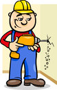 Worker with drill cartoon illustration of man or workman drilling electric Royalty Free Stock Images