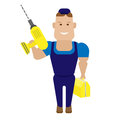 Worker with drill illustration of a on a white background Royalty Free Stock Images