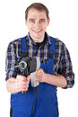 Worker with a drill machine picture of Royalty Free Stock Images