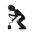 Worker drills Vector black icon on white background.