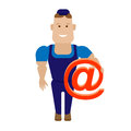 Worker with email sign illustration of a on a white background Royalty Free Stock Image