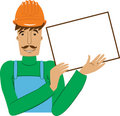 Worker with the empty board Royalty Free Stock Photos