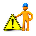 Worker with exclamation sign Royalty Free Stock Photography