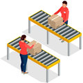 Worker goods packaging with boxes at packing line in factory. Workers In Warehouse Preparing Goods For Dispatch. Flat 3d