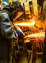 Worker grinding metal Royalty Free Stock Photo