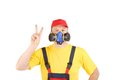 Worker in har with respirator isolated on a white background Royalty Free Stock Photography