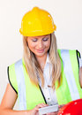 Worker with hard hat looking at drawing Royalty Free Stock Photo