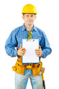 A worker holding clipboard construction in work wear on white background isoalted Royalty Free Stock Photo