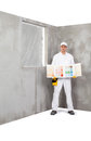 Worker holding a colour samples palette Royalty Free Stock Photo