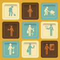 Worker icon icons over orange background vector illustration Stock Image