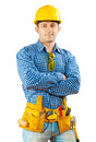 A worker isolated construction in work wear on white background isoalted Stock Images