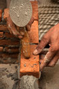 Worker laying brick Royalty Free Stock Photo
