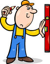 Worker with level cartoon illustration of or measuring and pencil doing renovation Royalty Free Stock Photos