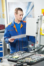 Worker at machine tool in workshop Stock Photography