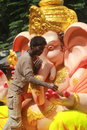 Worker making Ganesh idol in hyderabad, India Royalty Free Stock Photos